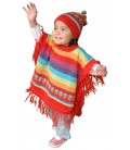 """Rainbow"" Set for Kids: Poncho and Hat"