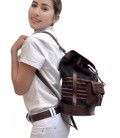 Backpack with 2 exterior pockets - Genuine leather