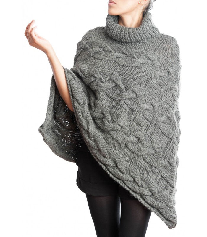 Alpaca Poncho Knitting Pattern : Hand knitted Poncho