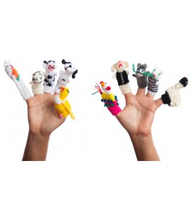 """Set of 10 """"Farmer"""" finger puppets with case"""