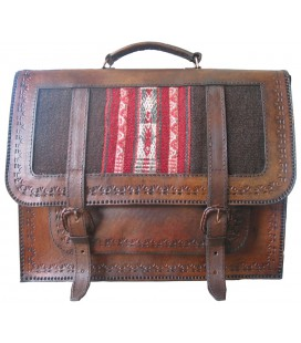 Schoolbag Briefcase with one pocket - Genuine Leather and aguayo