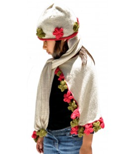 """Flowers"" set: Cape and Cap-scarf - Alpaca Wool"