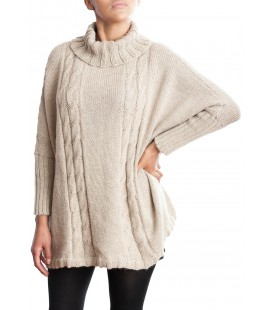 100% Alpaca high-necked sweater/poncho