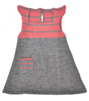 Girl's Striped, Woven Dress - Alpaca Wool