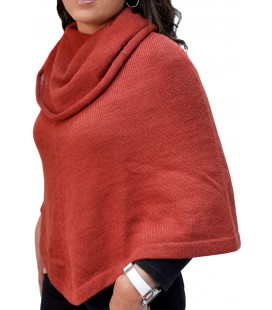 High-necked Poncho - Alpaca Wool