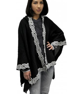 "Poncho Ruana with Hood ""Fansy Squares"" - Alpaca Wool"
