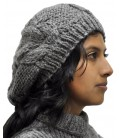 Hand-knit cable-stitch Beret - Pure Alpaca