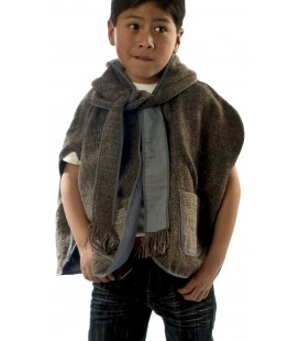 Poncho with hood for Kids - Lama wool