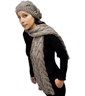 """Braids"" Set: Hand-knit cap and scarf - Pure Alpaca Wool"